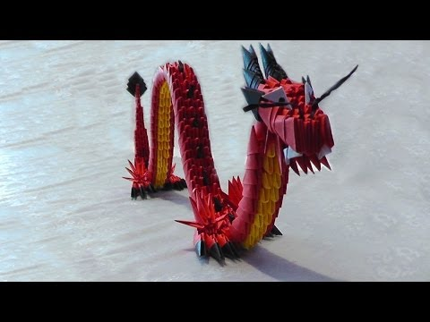 3d origami red chinese dragon tutorial instruction