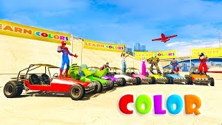 Mickey Mouse and Supeheroes new challenge on colored cars. Learn colors for babies. Nursery rhymes songs for children.