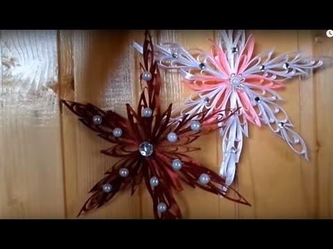 Как сделать снежинки из атласных лент видео