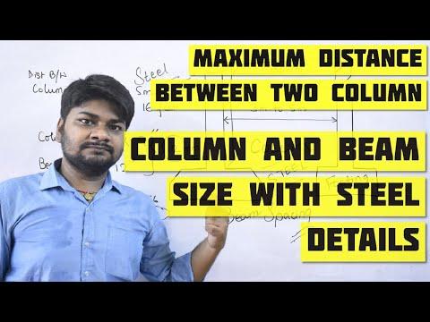 Minimum & Maximum Distance Between Two Column | Column & Beam Size with Steel details for G+1 Floor