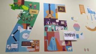 Процесс росписи стены офиса видео
