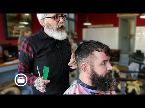 Beard styles - Master Barber Demonstrates a Great Style for Thin Hair with Beard Trim