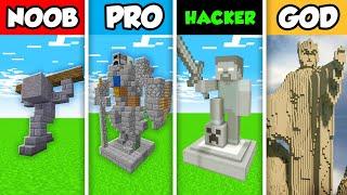 Minecraft NOOB vs. PRO vs. HACKER vs GOD: OLD STATUE HOUSE BUILD CHALLENGE in Minecraft! (Animation)