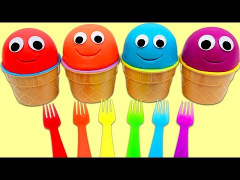 4 Colors Play Doh Ice Cream Surprise Cups Opening & Learning Colors with Rainbow Forks!