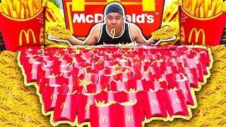 100 MCDONALD'S FRIES CHALLENGE (IMPOSSIBLE) *200,000 CALORIES*