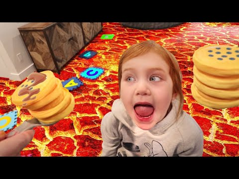 DON'T BURN MY FOOD!! Adley plays a Pancake and the Floor is Lava Challenge, a new hide n seek game!