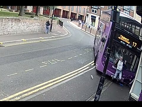 Double decker bus hits man in England