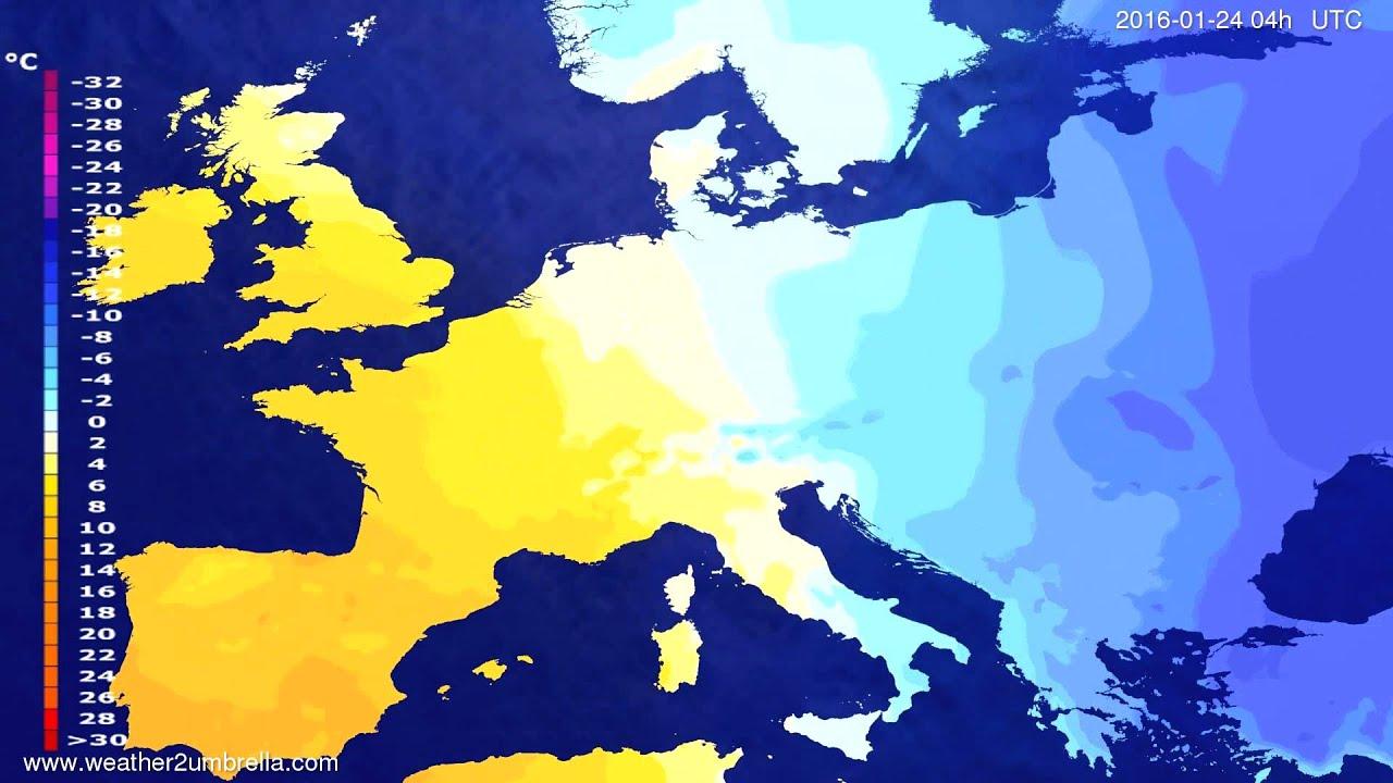 Temperature forecast Europe 2016-01-20