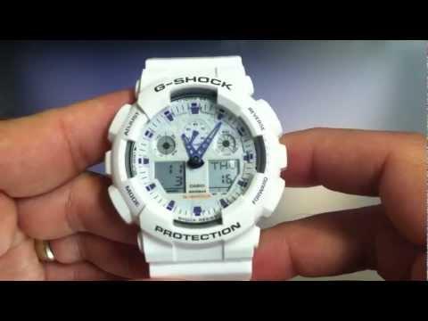 White Casio G-Shock GA100A-7A Ana-Digi Watch