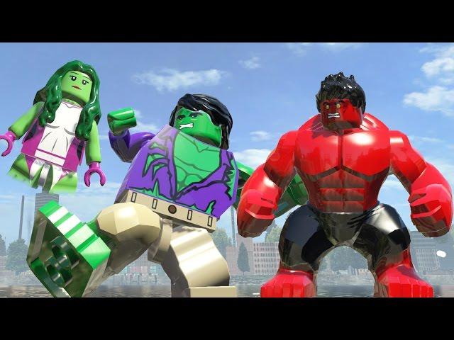 Hulk(Transformation)Vs She Hulk Vs Red Hulk - Lego Marvel Super ...