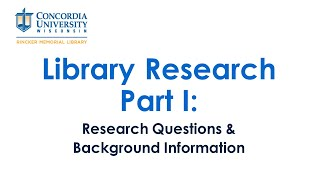 Research Questions and Background Information