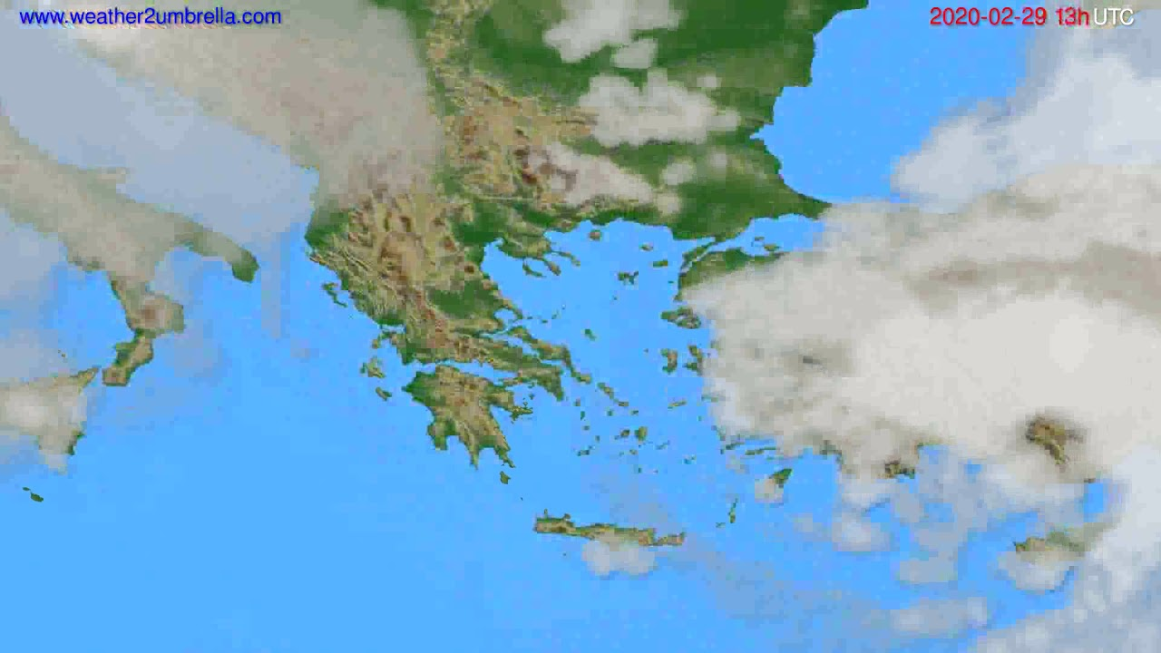 Cloud forecast Greece // modelrun: 12h UTC 2020-02-28