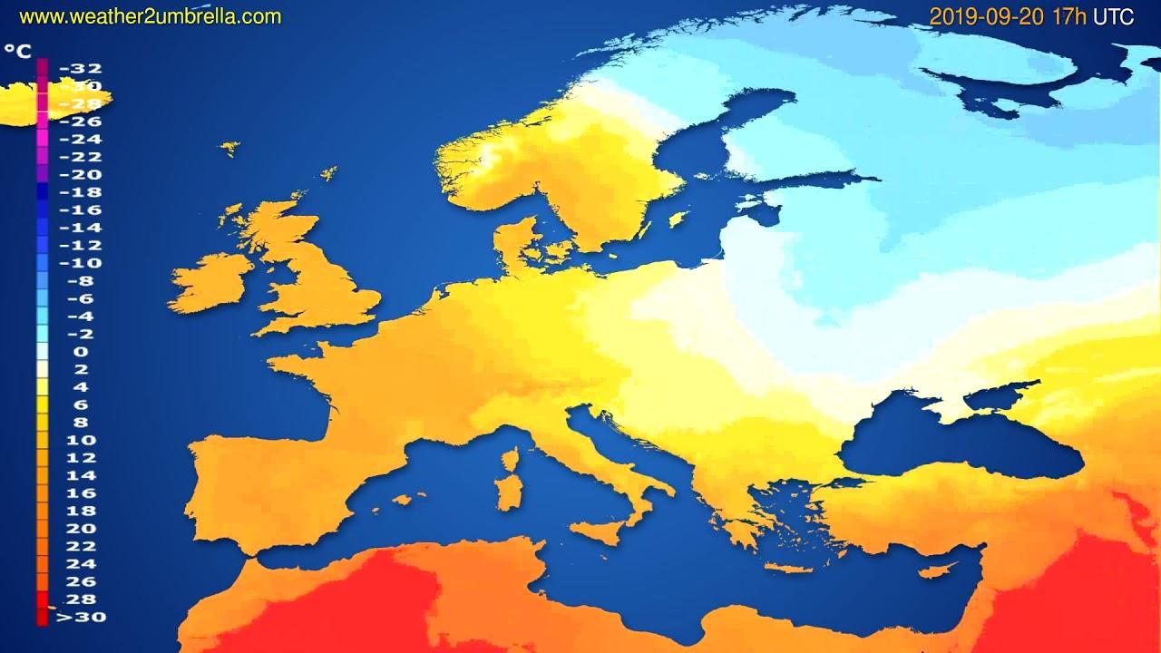 Temperature forecast Europe // modelrun: 00h UTC 2019-09-19