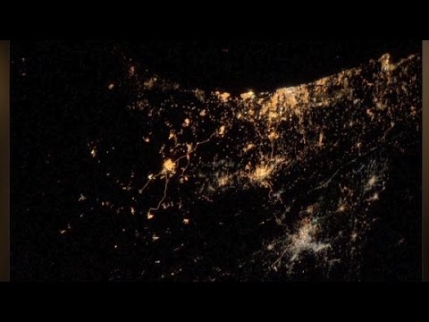 his - European astronaut Alexander Gerst tweeted a photo from space showing explosions over Gaza and Israel.
