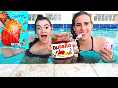TRYING FOOD UNDERWATER?! Vlognukkah Day 2