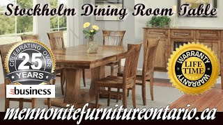 Mennonite Stockholm Double Pedestal Dining Room Table and Chairs