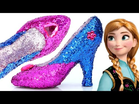 DIY Frozen Anna Super Glitter Play Doh High Heels Disney princess Sparkle Play Doh Shoes Mighty Toys