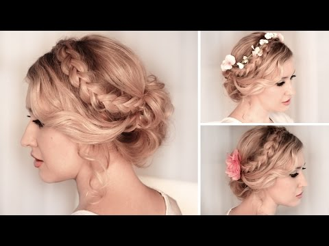 Braided updo hairstyle for medium/long hair tutorial � Wedding, prom