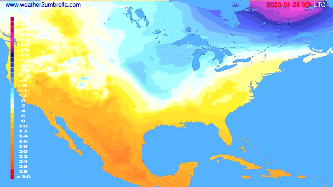 Temperature forecast USA & Canada // modelrun: 00h UTC 2020-01-23