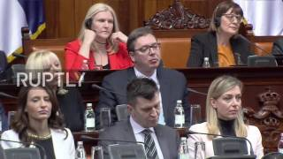 Members of the Serbian Parliament belonging to the Radical Party booed High Representative of European Union for Foreign Affairs and Security Policy Federica...