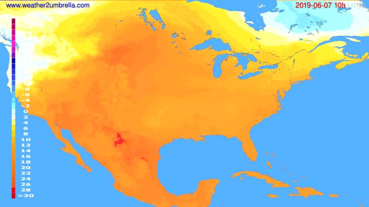 Temperature forecast USA & Canada // modelrun: 00h UTC 2019-06-05