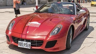 """Here another video from the most exclusive Ferrari Gathering ever, the FERRARI CAVALCADE 2017, and it's only one of many videos I've recorded in Apulia, so be sure to not miss any of these watching the appropriate playlist I've created for.This year at its sixth edition, the Cavalcade is a special event organized directly by Ferrari to give the possibility to its most important members to drive all the brand new Ferraris on the wonderful scenary of the italian roads. This Gran Turismo event is reserved to the most important owners from all over the world, and to take part at the Cavalcade you need to have 5 different Ferraris in your garage.The Ferrari Cavalcade 2017 was held in beautiful Puglia, in south Italy touching the most beautiful places of the world driving across the Trulli of Alberobello, Bari, Polignano a Mare and the unique """"Sassi di Matera"""" in Basilicata. More than 100 of most imressive Ferraris crew, including 5 different Ferrari LaFerrari Aperta for a total of over 15 LaF, the brand new Ferrari GTC4 Lusso and several other Ferraris joined the 6th edition, enjoying the sun of Italy in the center of the european history.In this video a stunning red Ferrari SA Aperta takes part at the event giving me the possibility to film it in each detail like rims, engine, interior, the logo of the """"Cavallino"""" and to record its noisy start-up and its lovely sound while driving.The Ferrari 599 GTB Fiorano is a sports car produced by the italian manufacture in Maranello, Modena since 2006 to replace the Ferrari 575M Maranello.This two-seat flagship is entirely designed by Pininfarina under the direction of Frank Stephenson and was unveiled for the first time at the 2006 Geneva Motorshow.Its name stands for its displacement (5999 cc) Gran Turismo Berlinetta, and Fiorano is a tribute to the historical private Ferrari Track.Indeed the Ferrari 599 GTB Fiorano mounts a 6,0 litre V12 engine which develops the increbible power of 620hp and a torque of 608 Nm, making it the m"""