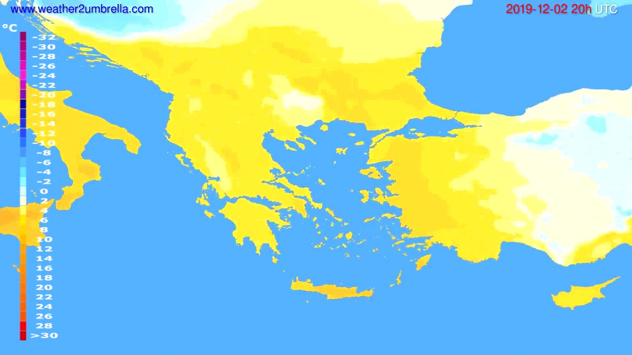 Temperature forecast Greece // modelrun: 12h UTC 2019-12-01
