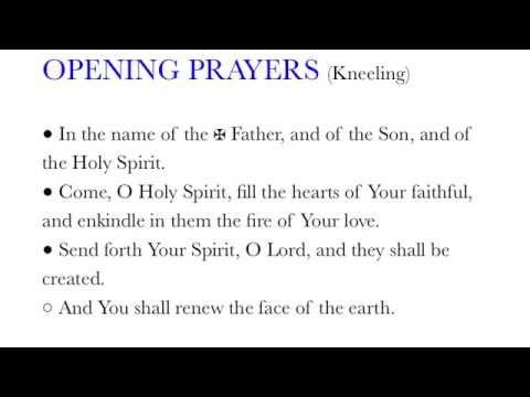Opening Prayers - Legion of Mary Tessera Prayers