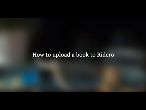 How to upload a book to Ridero