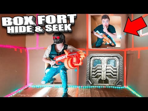 BOX FORT NERF HIDE AND SEEK CHALLENGE In The Worlds Biggest Box Fort!!