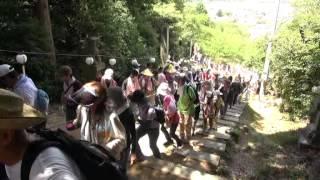 石上げ祭(9)大口町献石 中宮下・岩場引き揚げ