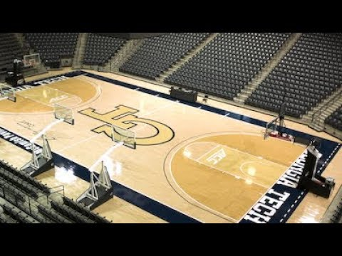 Video: Unveiling new court color at McCamish Pavilion