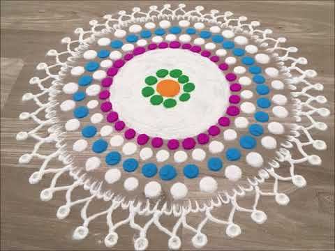 colourful * simple free hand rangoli design for diwali by Gauri | easy rangoli design for diwali