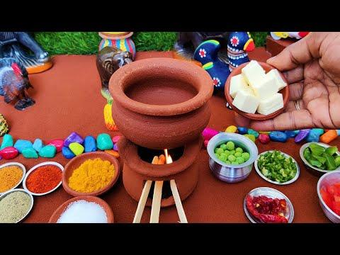 Restaurant Style Matar Panner Recipe | Miniature Cooking | Chapathi + Matar panner | Mini Food