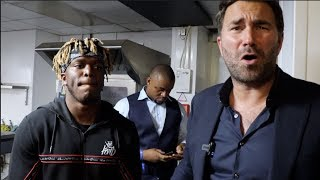 'SOMEONE GETTING KNOCKED THE F*** OUT' -KSI & EDDIE HEARN REACT TO CRAZY UK PRESSER /KSI-LOGAN PAUL
