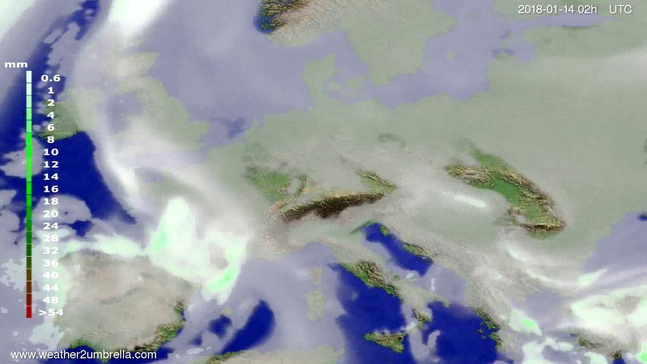 Precipitation forecast Europe 2018-01-10