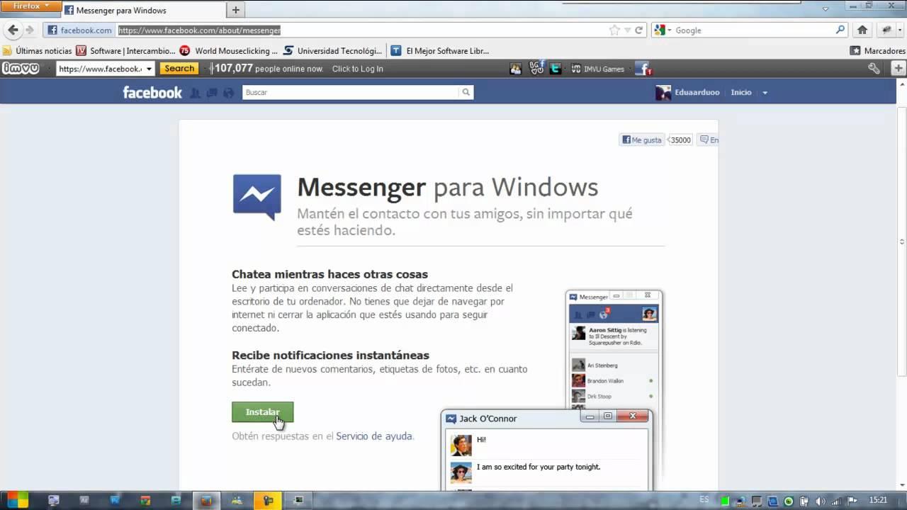 Descargar Facebook Messenger para PC Windows xp, Vista, 7