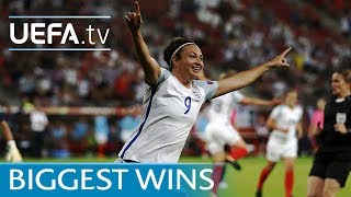 Watch how Jodie Taylor completed her hat-trick in England's record-breaking 6-0 win against Scotland and see goals from the previous biggest victories in the tournament's history.Subscribe: http://www.youtube.com/subscription_center?add_user=uefaFacebook: https://www.facebook.com/uefacomTwitter: https://twitter.com/UEFAcomG+: https://plus.google.com/+UEFAcomhttp://uefa.com