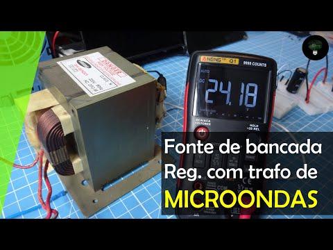 Fonte de bancada regulável 24V com trafo de microondas - NÃO FAÇA EM CASA