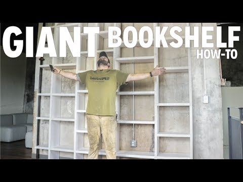 I build a 13ft. tall bookcase with a rolling ladder.