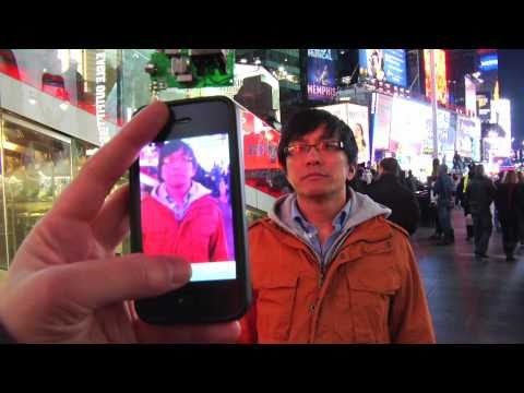 time square - UPDATE: Check out my new video that explains how I did it. the way it works is pretty simple: plug in my transmitter into the iphone 4 and play back any vide...