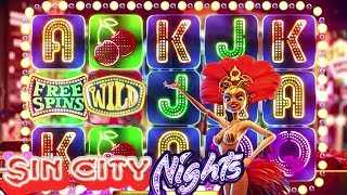 Sin City Nights Online Slot Full Review:http://online.casinocity.com/slots/game/sin-city-nights/http://www.ThisWeekInGambling.com - Sin City Nights is a five reel, twenty-five payline cascading true 3D video slot that embraces the sultry nature of Las Vegas, storied and glittering casino capital of the world. In Sin City Nights, each winning combination explodes in a shower of sparks, leaving space for new icons to fall onto the reels. Each line win increases the generous multiplier so that wins are larger with each consecutive winning spin. A Free Spins bonus is available when three specific icons occur on an active payline, and during this Free Spins mode all winnings earn 3x the base amount.