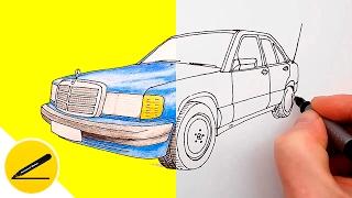 Видео: как нарисовать Мерседес Бенц 190 (W201)