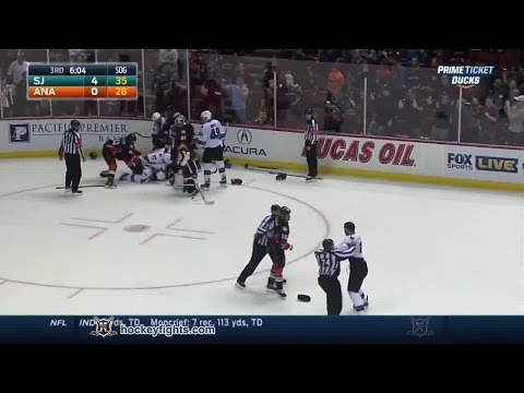 Scott - John Scott vs Tim Jackman round 2-ish from the San Jose Sharks at Anaheim Ducks game on Oct 26, 2014. Tim Jackman did not receive a fighting major. Neither did anyone else in the scrum. via...