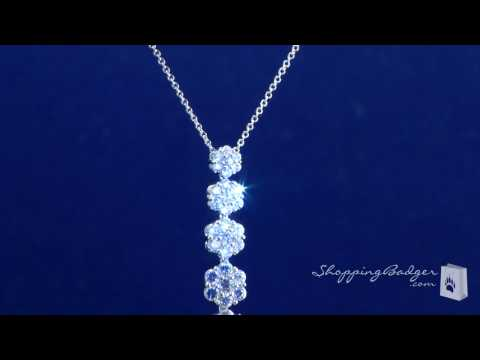 sterling silver flower cluster CZ journey pendant necklace