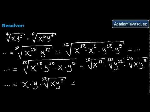 raíces con diferentes índices - Ejercicio práctico de multiplicación de radicales de diferente índice. Hecho por AcademiaVasquez. Página web: http://www.academiavasquez.com Página en Facebo...