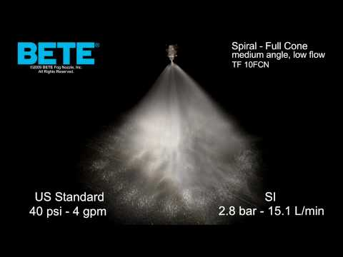 TF10 FCN - Medium Angle, Low Flow Full Cone Spiral Spray Pattern Video