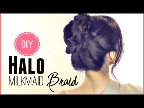 ★HAIR TUTORIAL: EVERYDAY HALO MILKMAID BRAID FOR MEDIUM LONG HAIR| SCHOOL HAIRSTYLES UPDOS | PROM