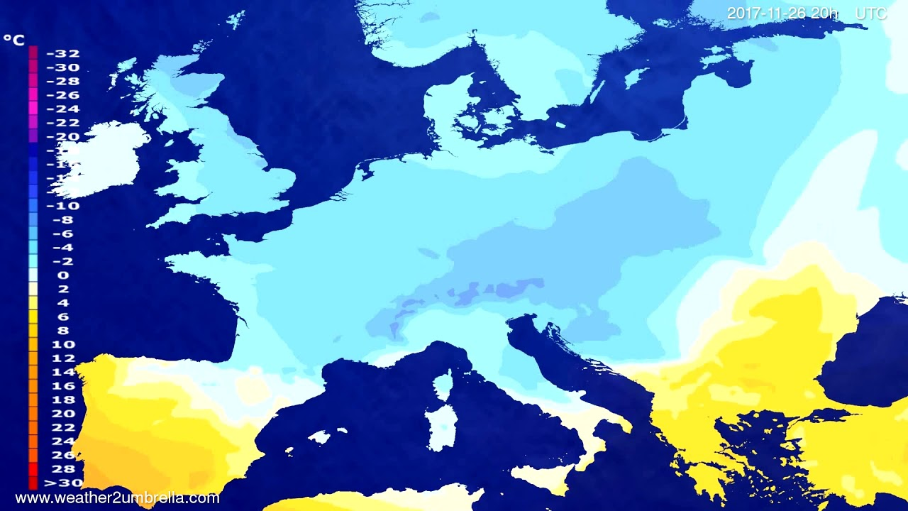 Temperature forecast Europe 2017-11-24