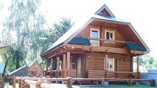 Дачный домик с мансардой. Оцилиндрованное бревно - сосна.